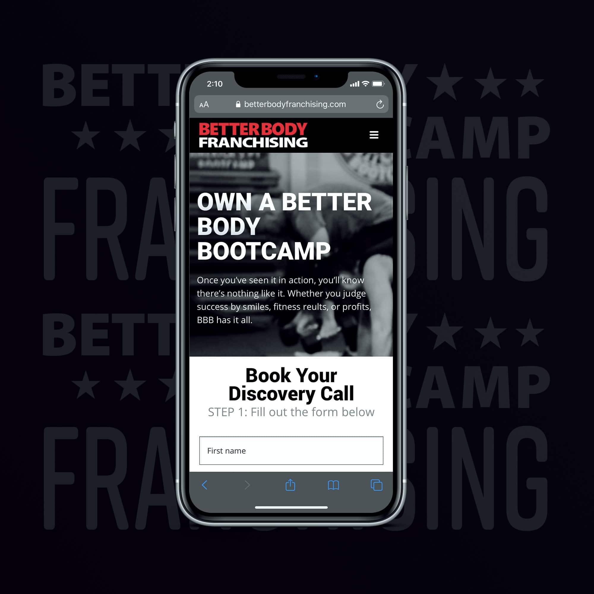BetterBodyFranchising.com website design by JessMadeIt